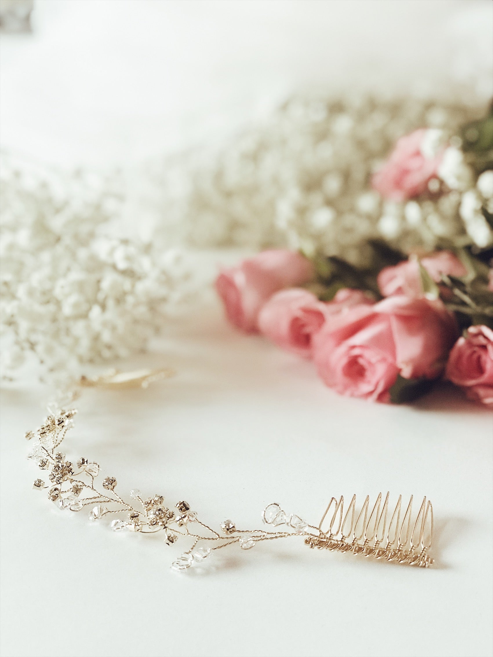 "The ""Laurel"" bridla hair vine and tiara flower crown with swarovski crystal details from Lauren Elaine Bridal Accessories"