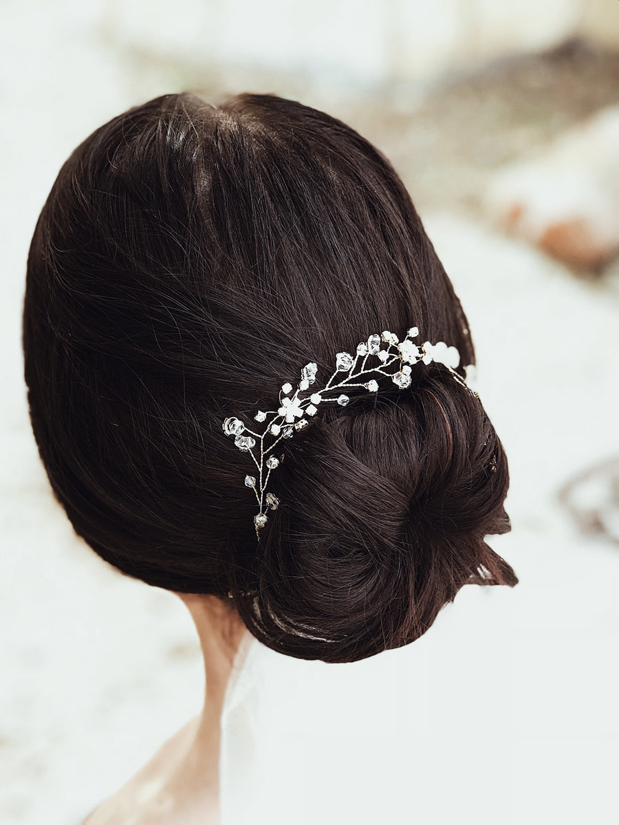Swarovski crystal and gold floral hair vine from the Lauren Elaine curated accessories collections for weddings
