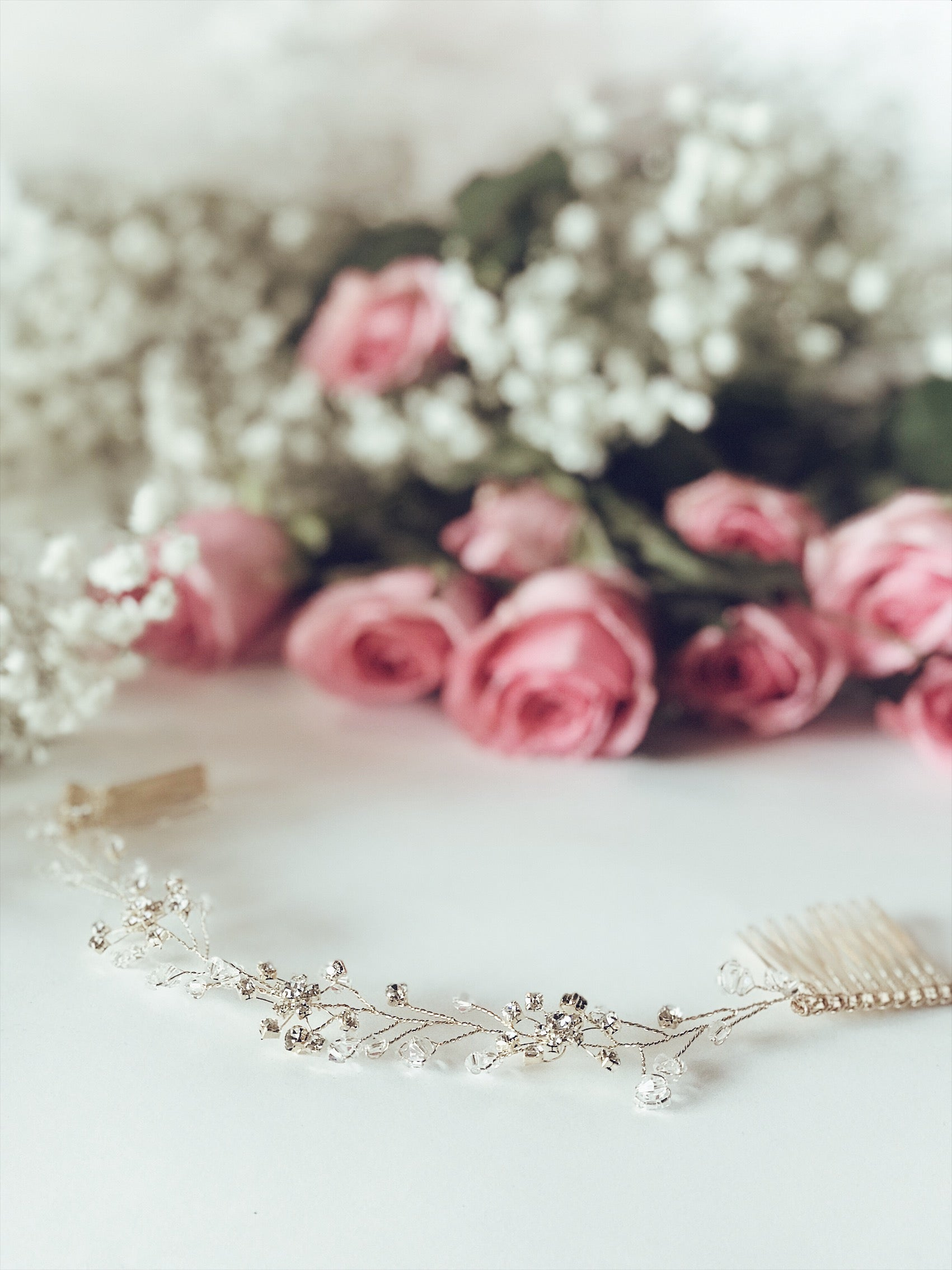 "Details of the ""Laurel"" hair vine and tiara flower crown from Lauren Elaine Bridal Accessories"