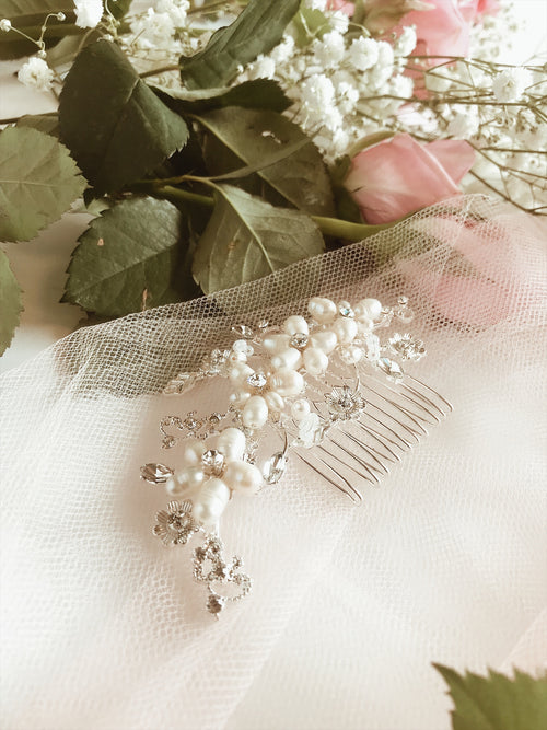 "Lauren Elaine ""Lilac"" bridal hair comb with freshwater pearl and floral crystal detailing"