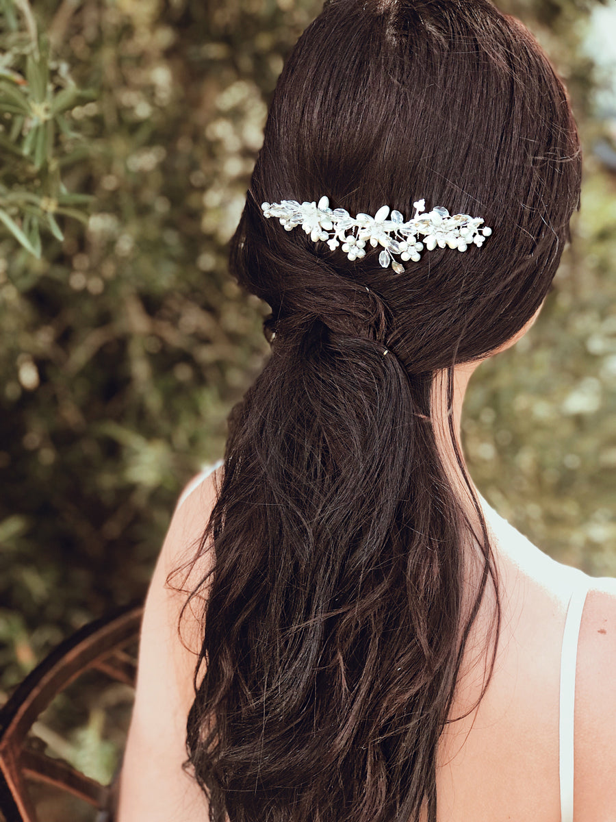 Wedding hairstyles featuring the Lauren Elaine Bridal Curated Accessories Collection