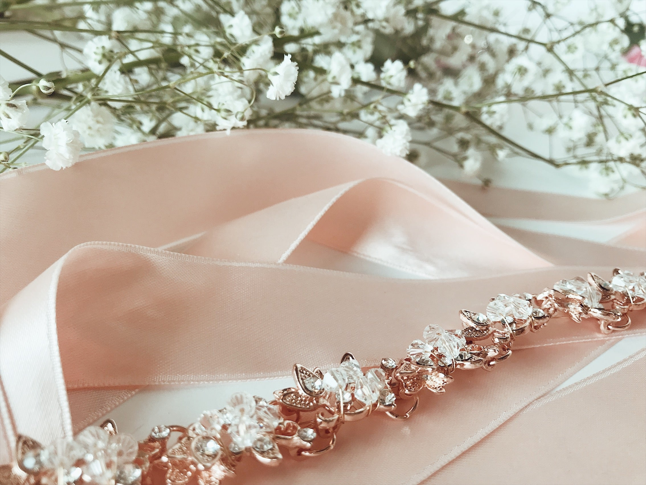 "Rose Gold ""Saffron"" bridal hair vine with blush ribbon accent from Lauren Elaine"
