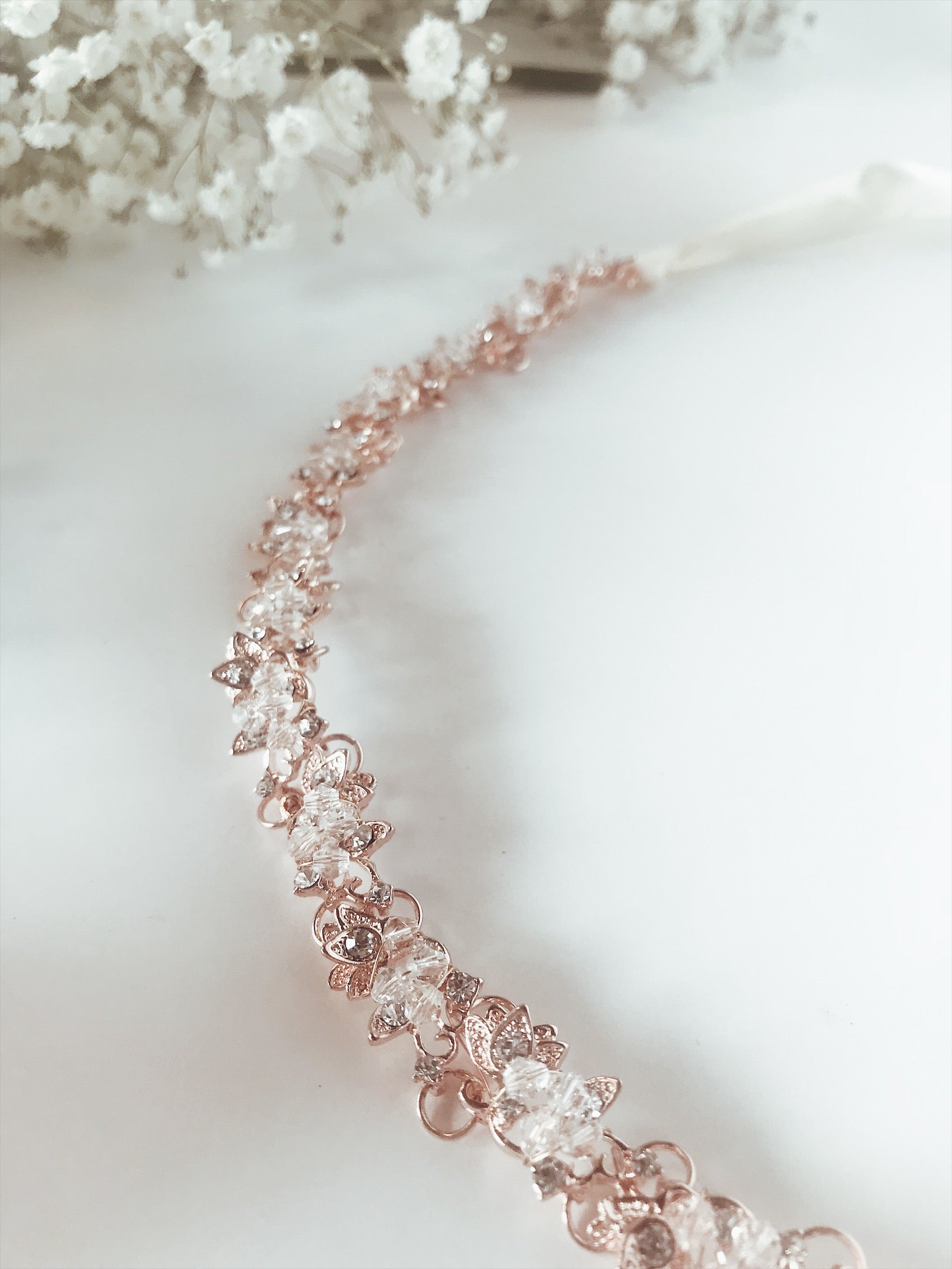 Rose gold and pave crystal bridal hair vine with ribbon ties by Lauren Elaine Bridal Accessories