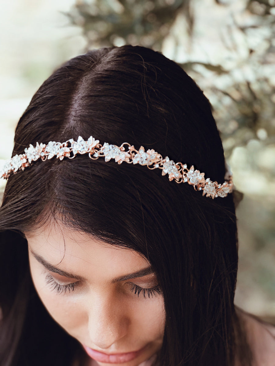"A bride wears the ""Saffron"" bridal hair in Rose Gold by Lauren Elaine Accessories"