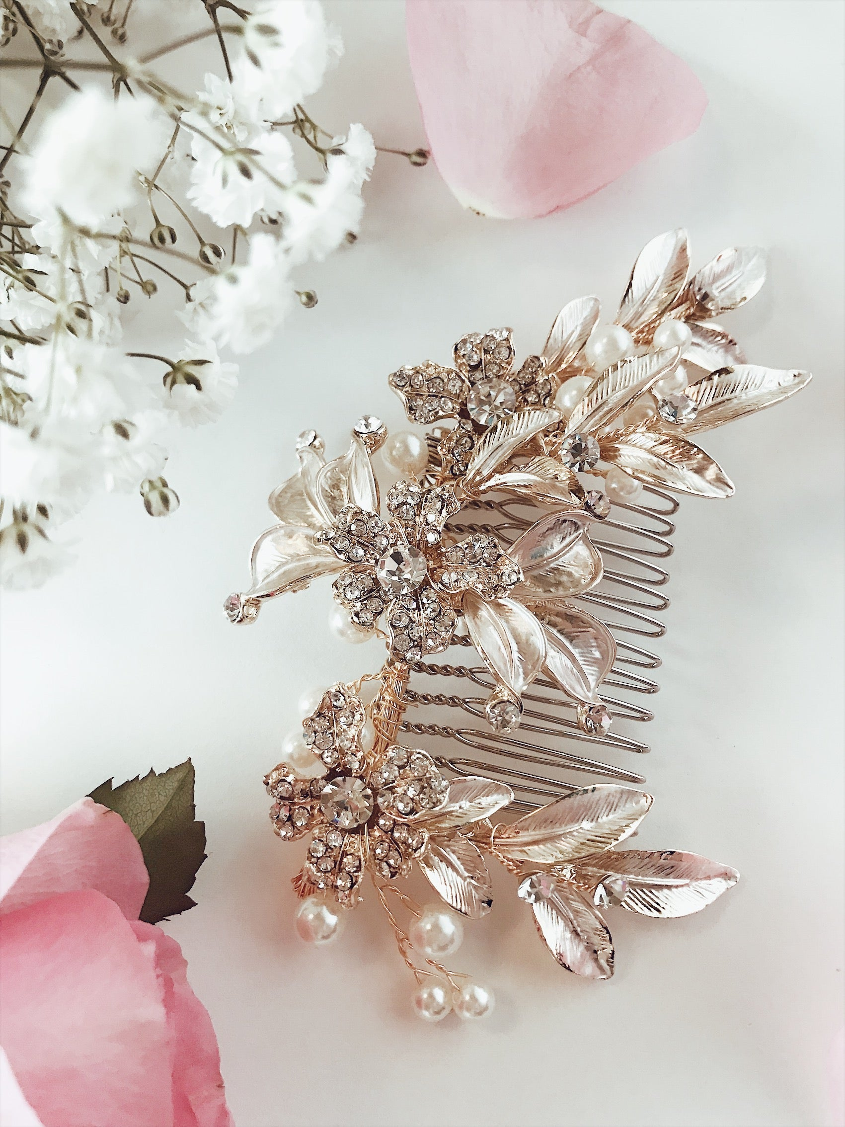 "Lauren Elaine Bridal Accessories ""Buttercup"" wedding hair comb with hand painted gold and silver leaves and pave crystal detailing"