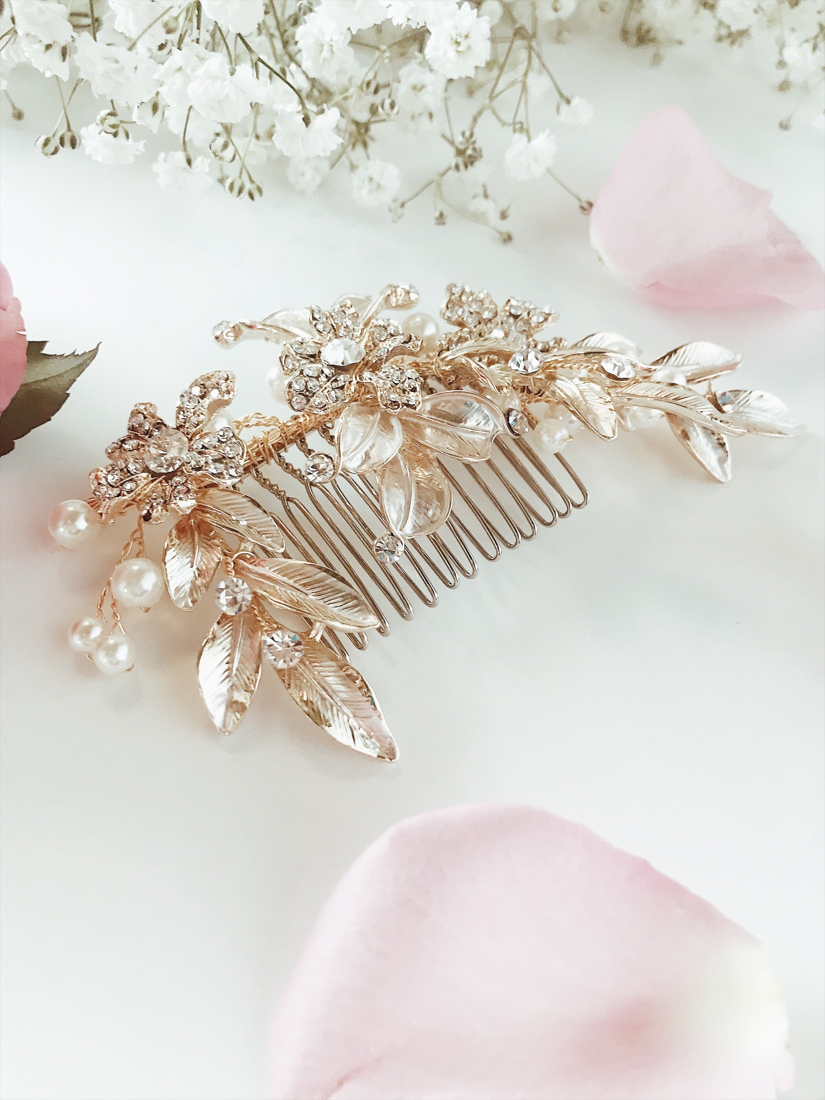 "Lauren Elaine Bridal Accessories ""Buttercup"" wedding hair comb with freshwater pearls and swarovski crystal detailings"