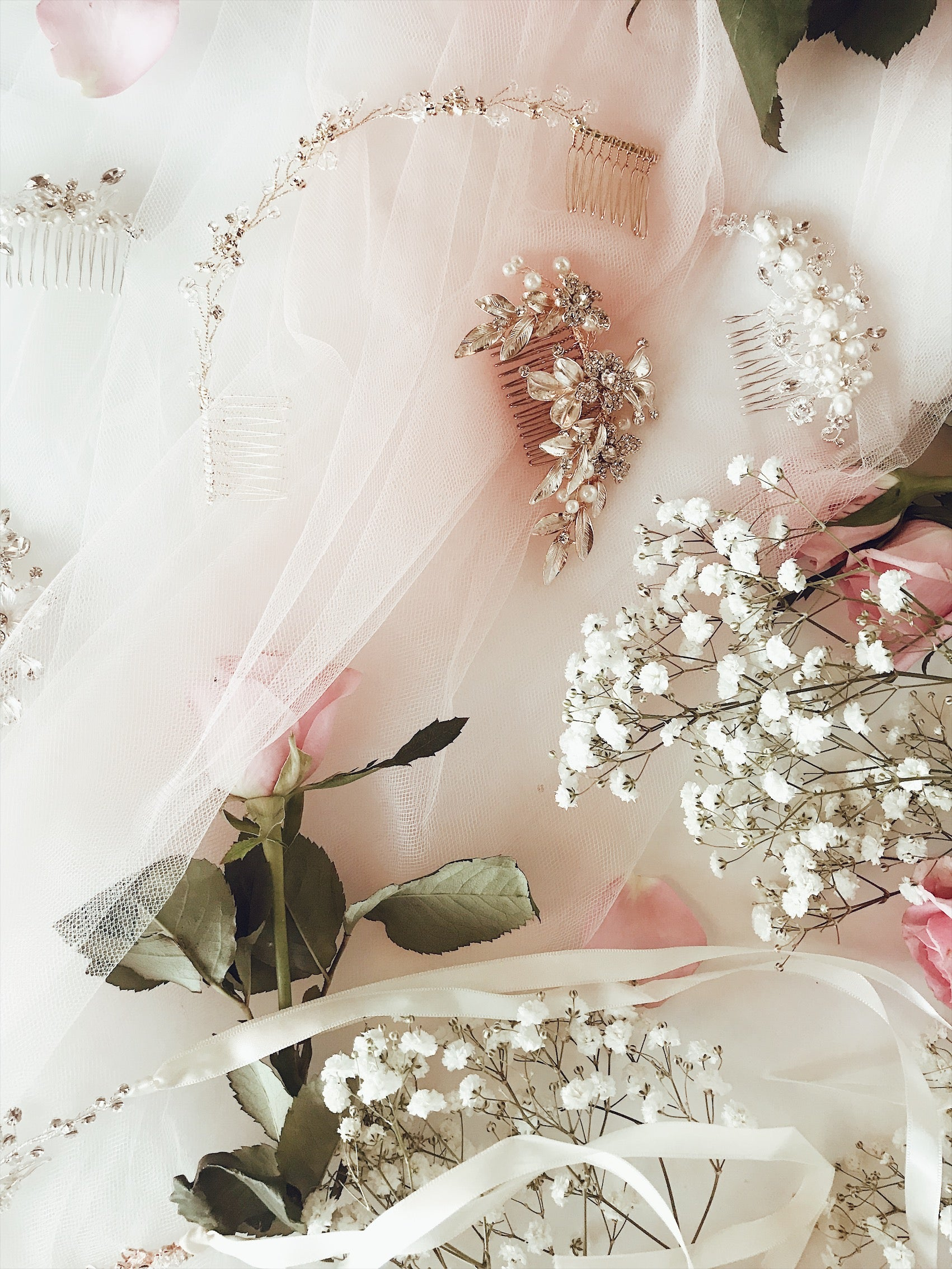A look at the Lauren Elaine Bridal curated Accessories collection of wedding hair combs and flower crowns