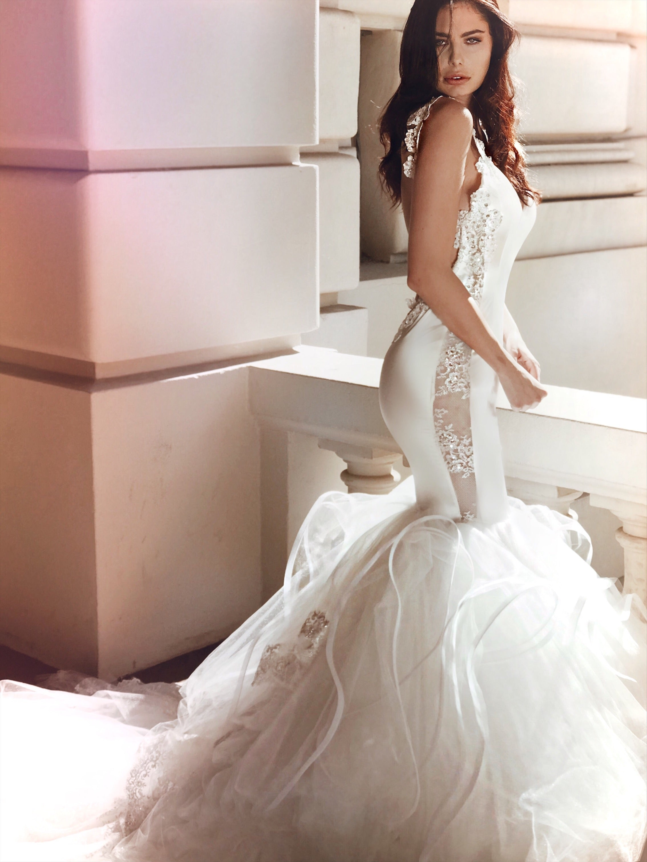 See through lace and satin illusion mermaid wedding dress by Lauren Elaine Bridal