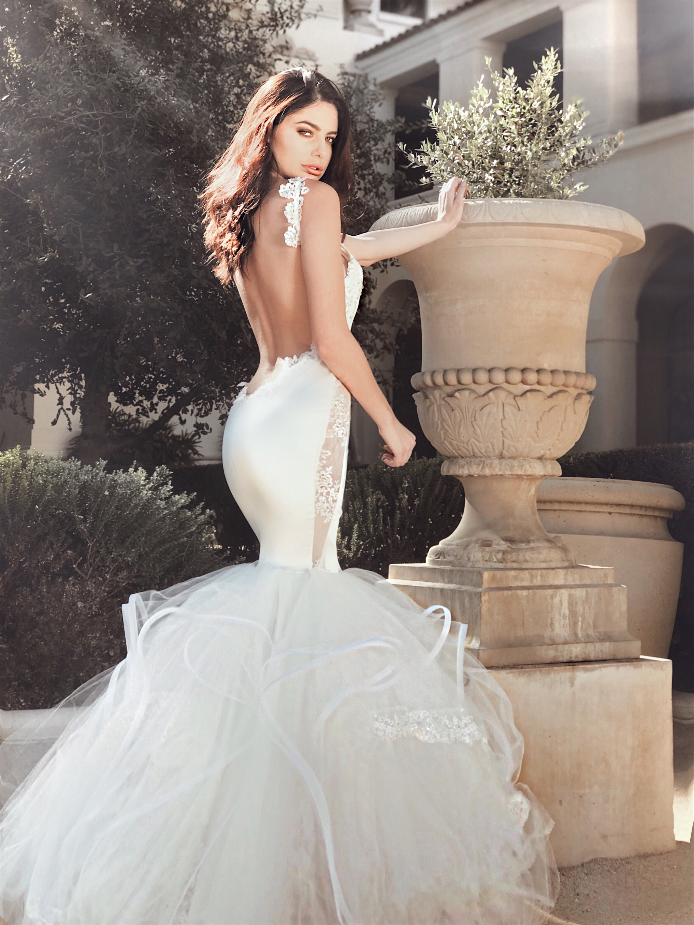 "Lauren Elaine Bridal ""Euphoria"" backless wedding dress with illusion side panels and crystal sparkle lace and appliqués details"