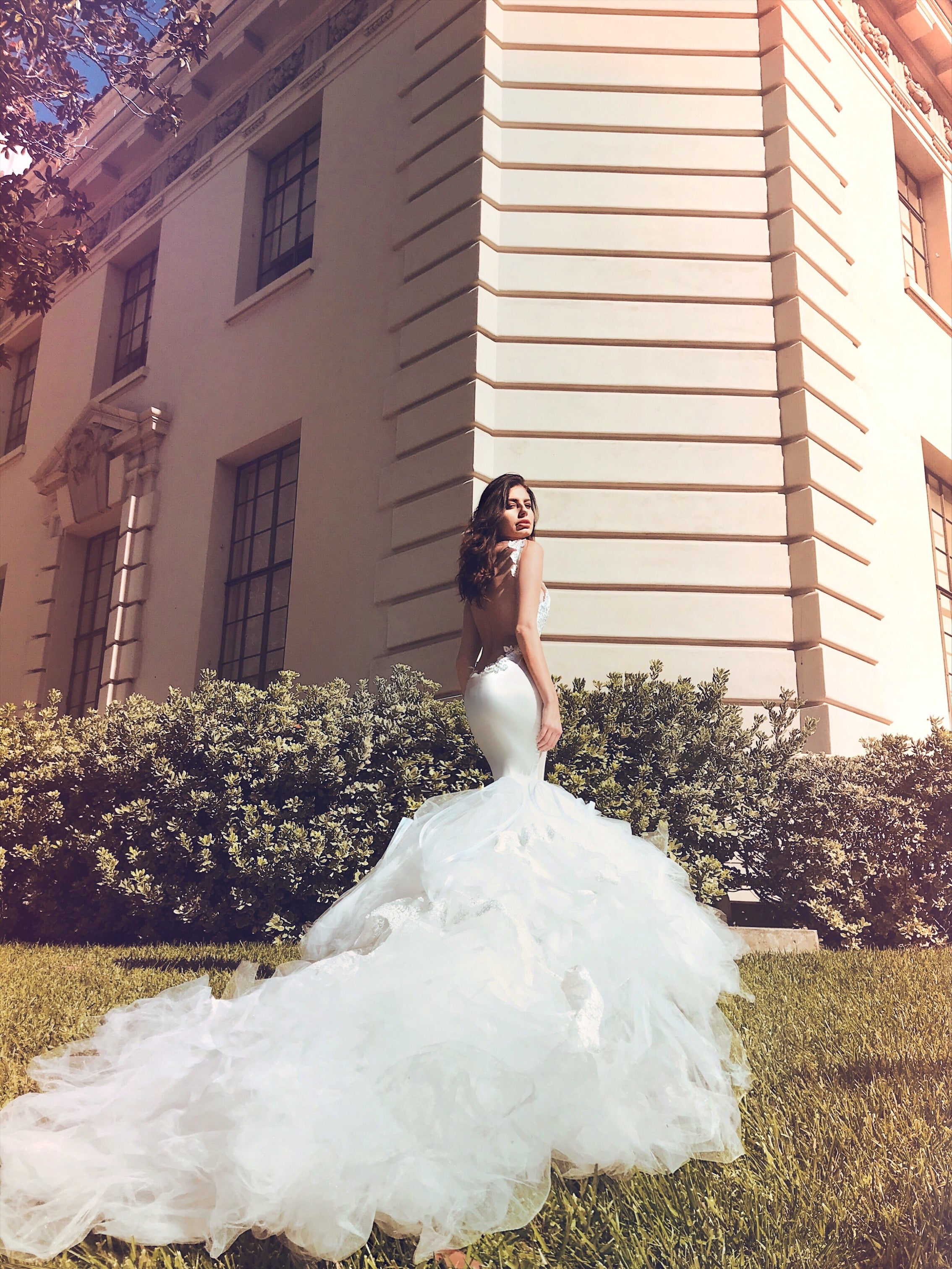 Backless satin mermaid wedding dress with crystal sparkle and 10ft train by Lauren Elaine Bridal Los Angeles