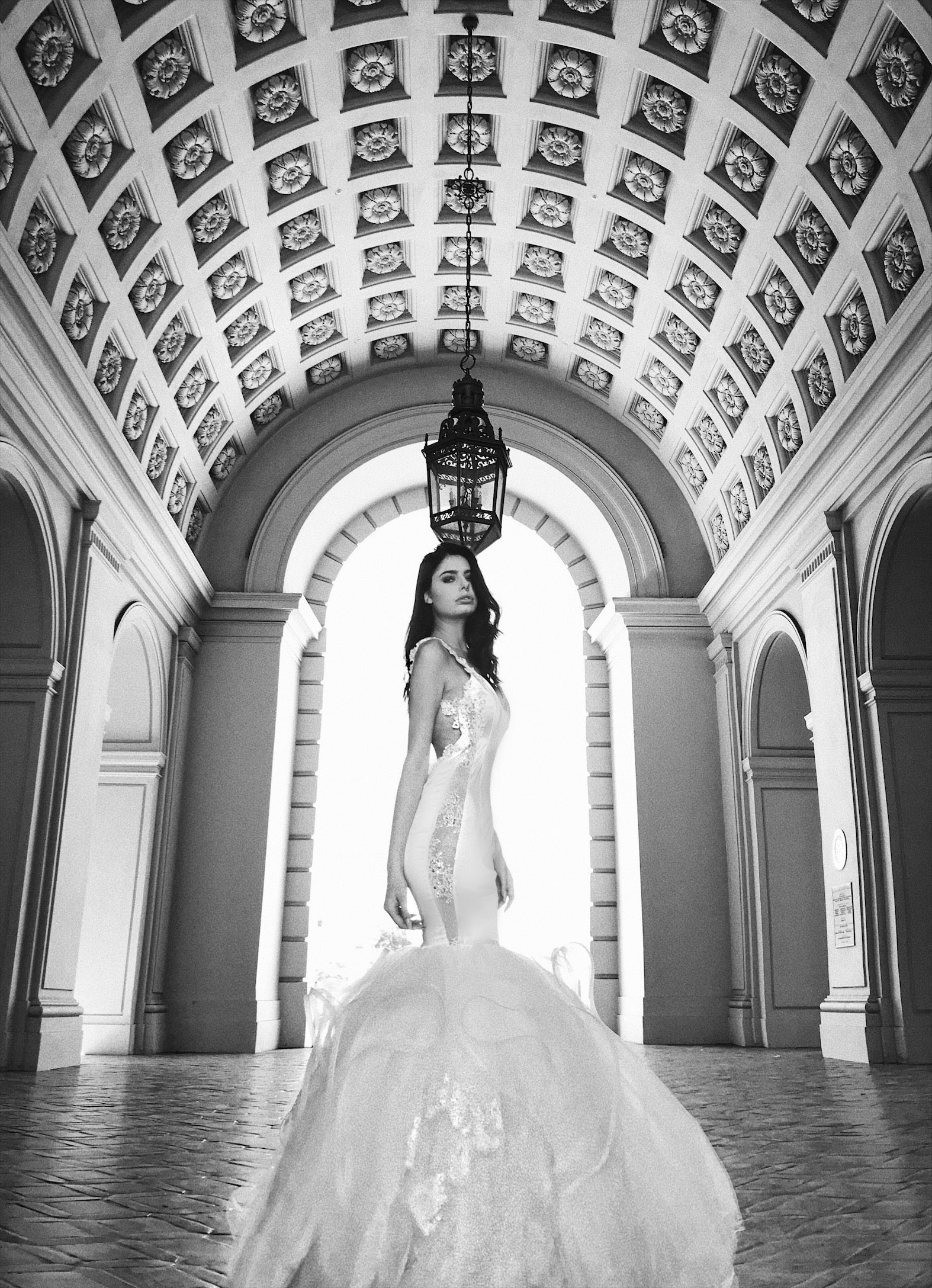 "Lauren Elaine ""Euphoria"" mermaid wedding gown with detachable cathedral train"