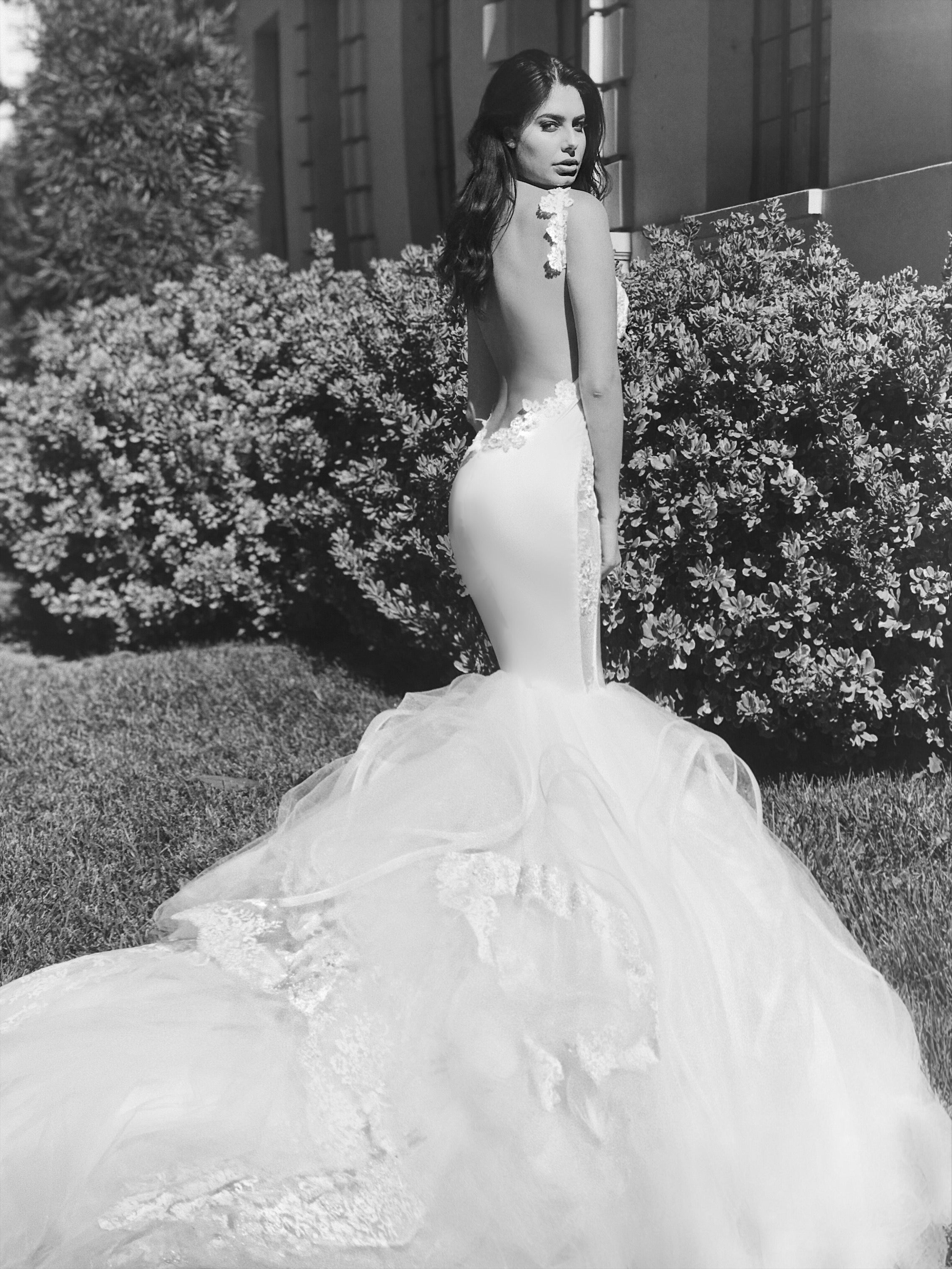 Backless tulle and satin mermaid wedding dresses by Lauren Elaine Bridal of Los Angeles
