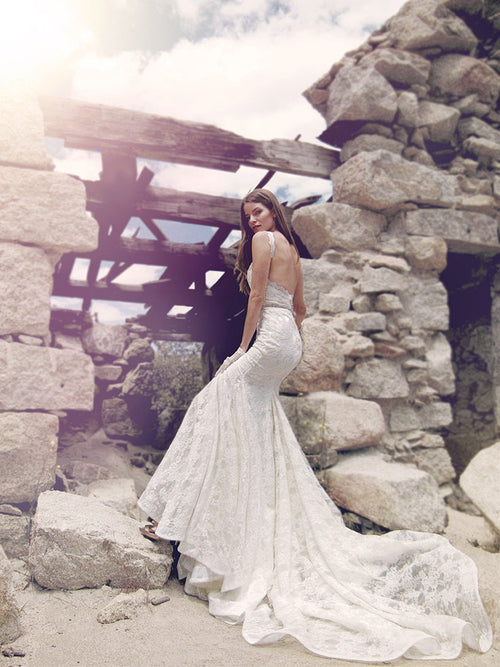 Verona wedding gown by Lauren Elaine with Cathedral length train pictured