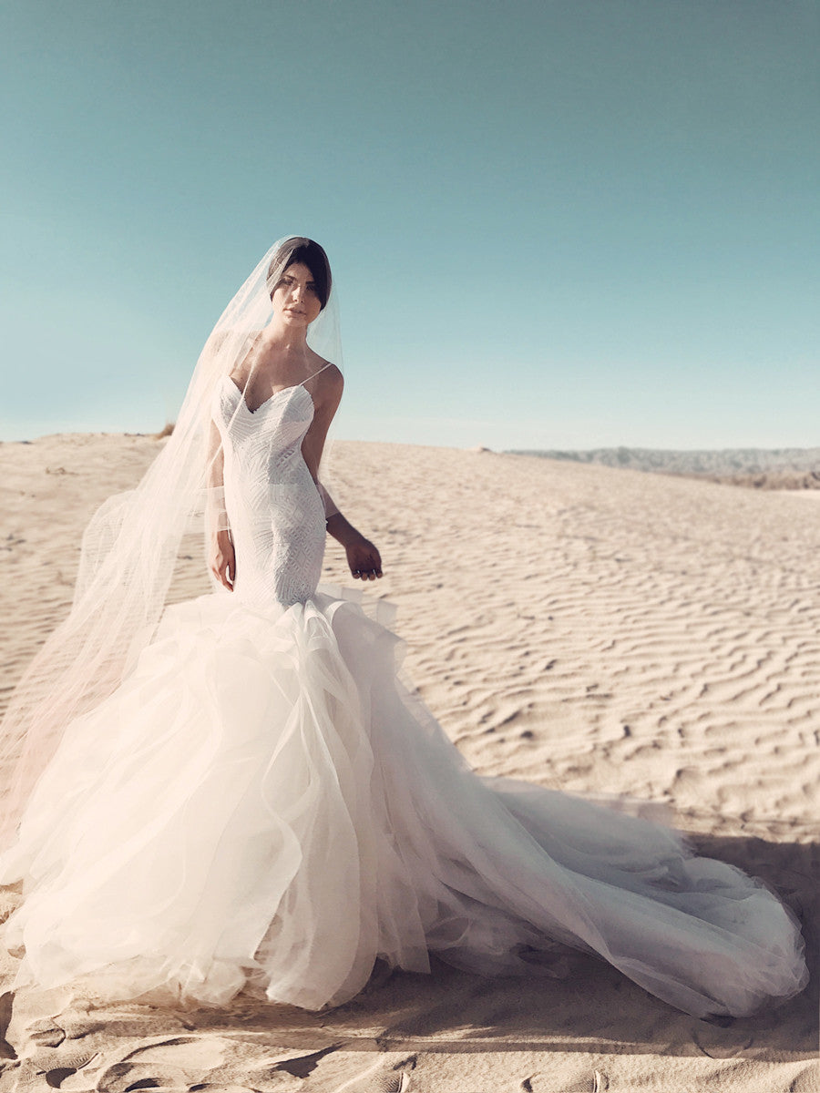 Lucite sequin mermaid wedding dress by Lauren Elaine Bridal Los Angeles