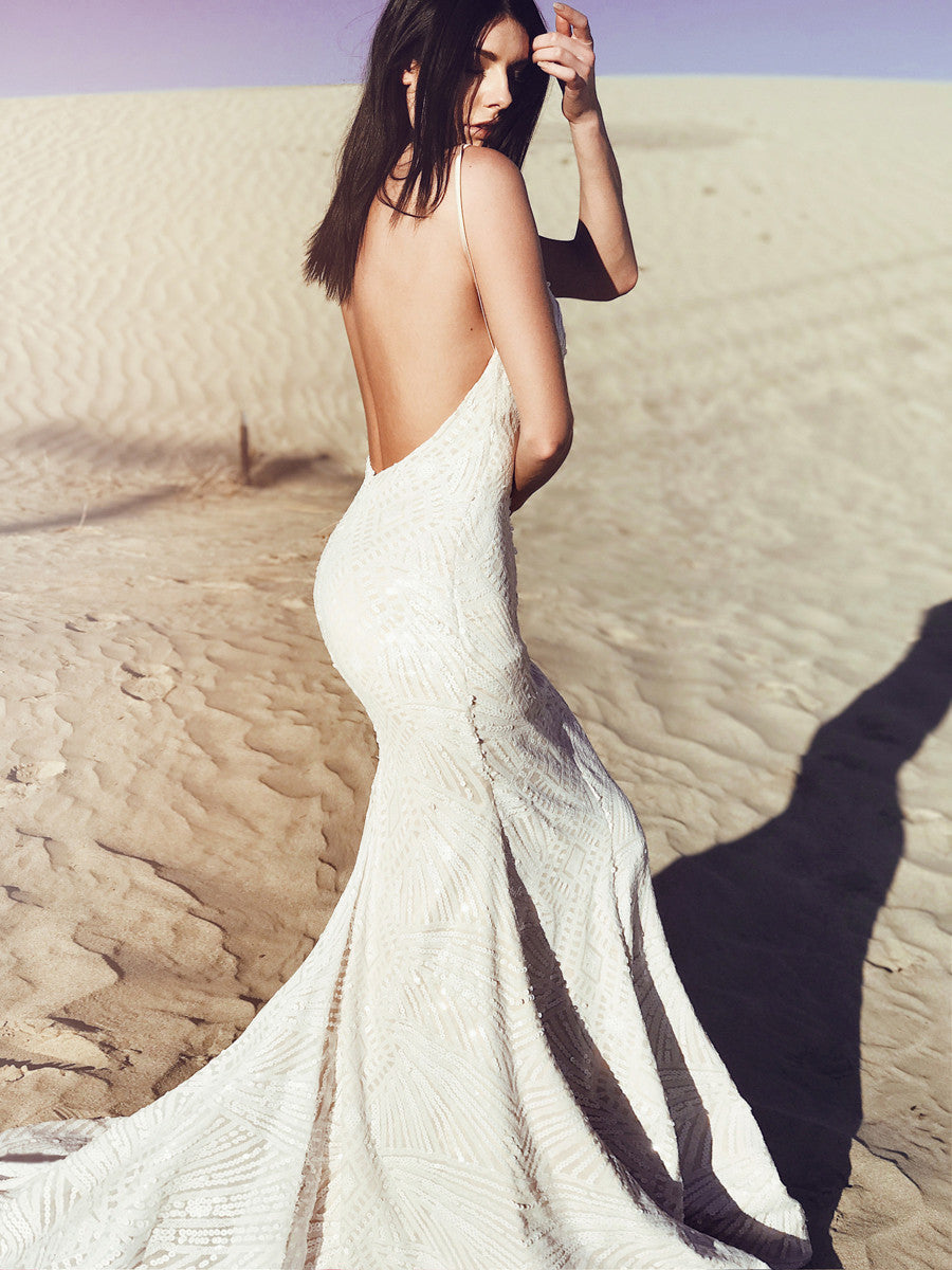 """Prism"" backless sequin wedding dress with cathedral train and spaghetti straps"
