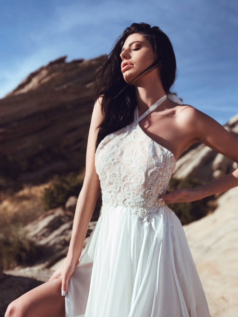 "Lauren Elaine ""Zephyr"" halter a-line wedding dress with bead and pearl detailing and high slit chiffon skirt with train"