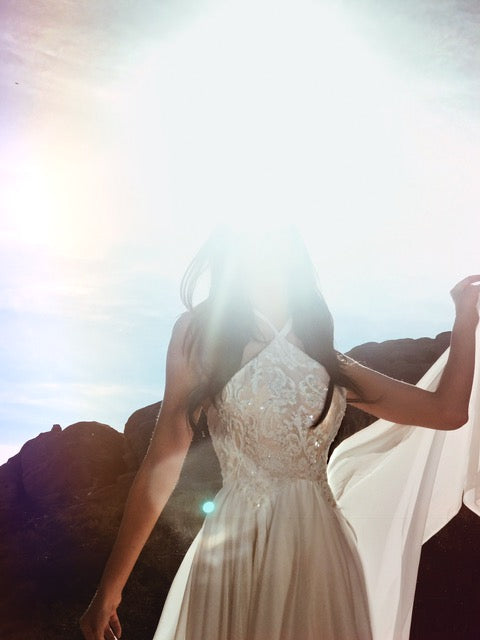 Crystal and bead detailing on the Lauren Elaine halter A-line wedding dress