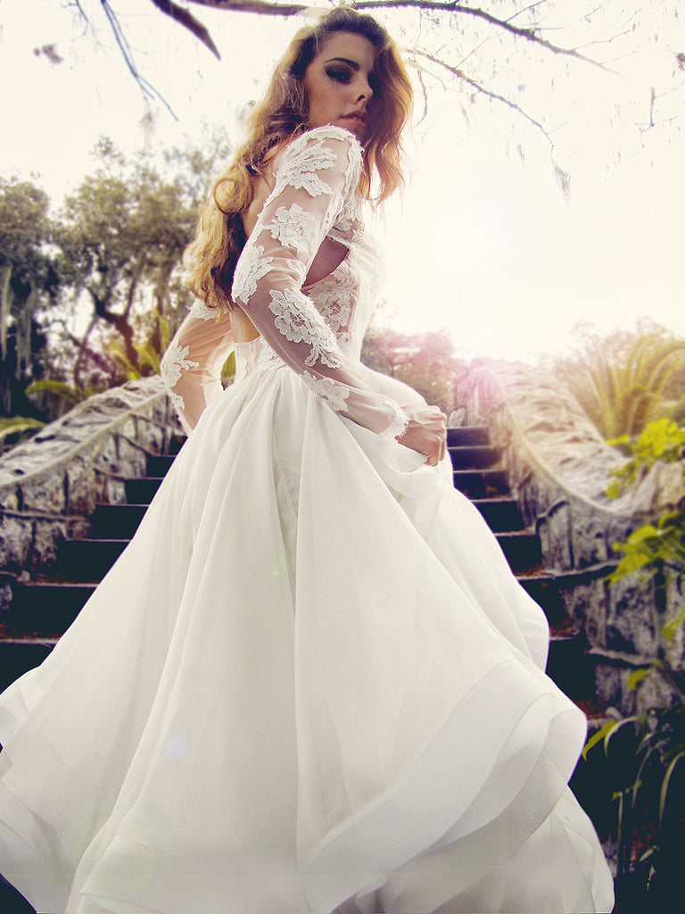 elise lace sleeves wedding dress Elise gown by Lauren Elaine Long sleeved lace wedding gown