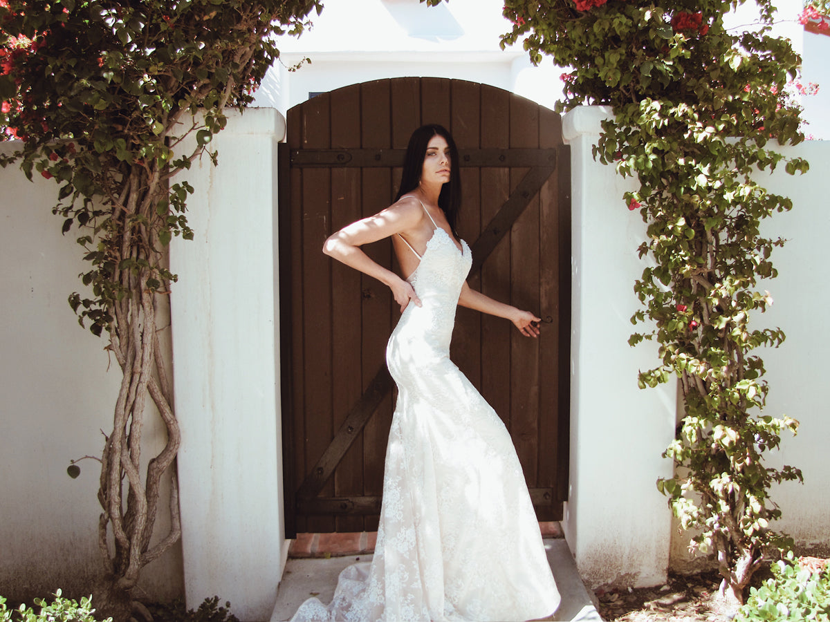"Sexy ""Lumen"" mermaid trumpet wedding dress by Lauren Elaine Bridal Los Angeles"