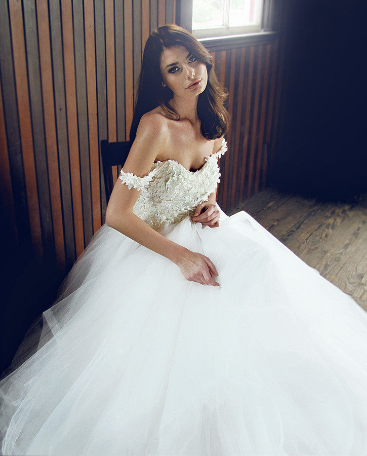 Off the shoulder lace and tulle ball gown. 3D lace. Illusion wedding dress.