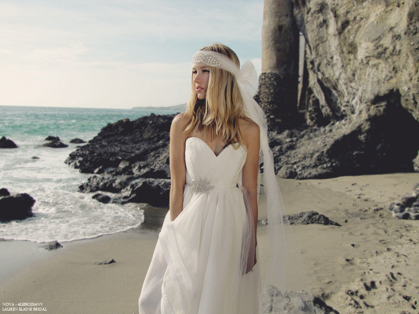 Bohemian bridal gown with Swarovski Crystals. Beach wedding gowns.