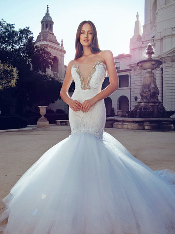 Pallas couture wedding gown dress swarovski crystal deep v strapless lace backless mermaid by lauren elaine