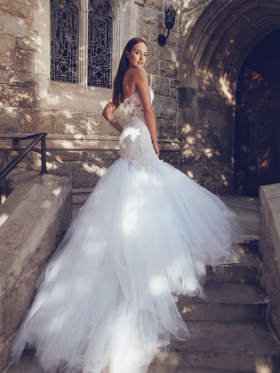 pallas wedding gown by designer lauren elaine cathedral train illusion backless mermaid