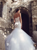 pallas backless mermaid wedding gown cathedral tulle train french corded lace by designer lauren elaine