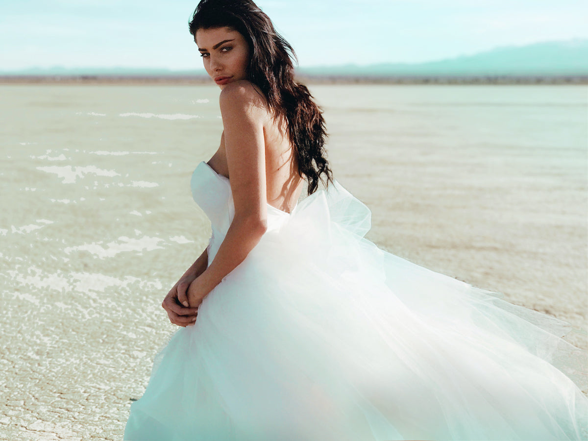 Customizable pastel ombré colored tulle wedding dresses by Lauren Elaine Bridal of Los Angeles.