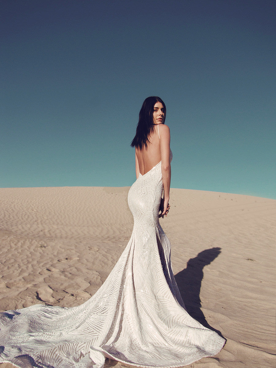 Sequin backless mermaid wedding gown wedding dress sexy form fit lauren elaine prism gown