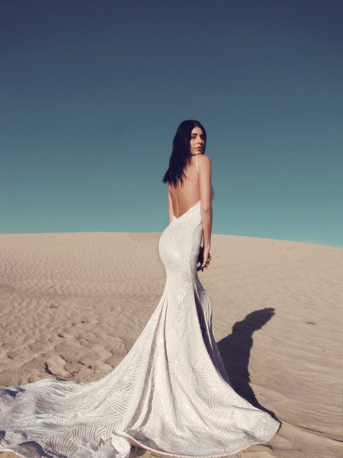 Sequin backless mermaid wedding gown wedding dress sexy form fit lauren elaine prism gown geometric sparkle