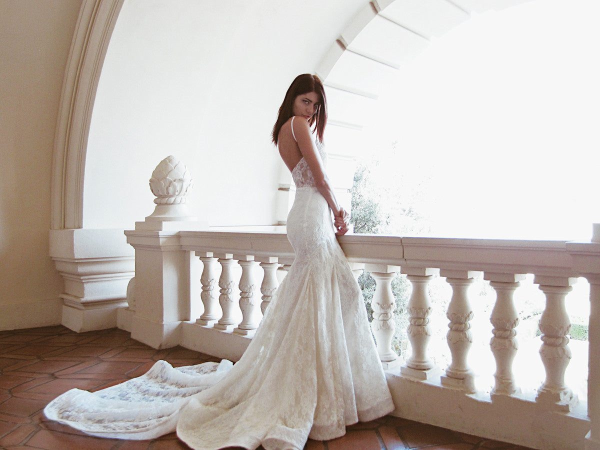 Illusion Lace Wedding Gown With