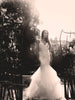 lace mermaid wedding gown tiered scallop horsehair tulle skirt capella lauren elaine bridal los angeles