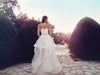strapless vintage bohemian ethereal halcyon gown wedding dress lace peplum horsehair hem lauren elaine bridal