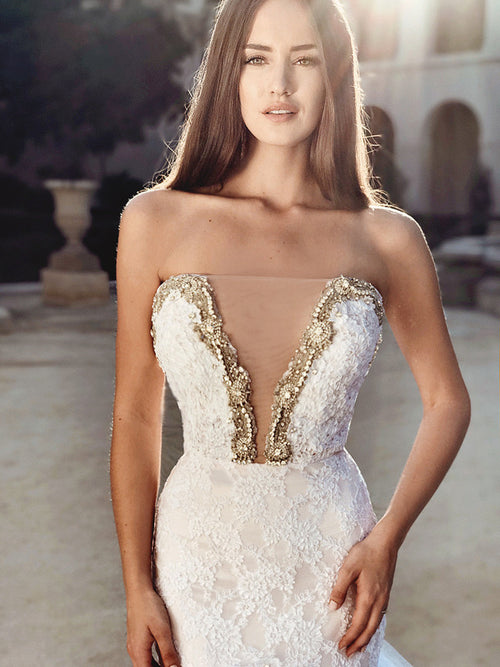crystal blind nude illusion deep v wedding gown dress with corded lace floral appliqués