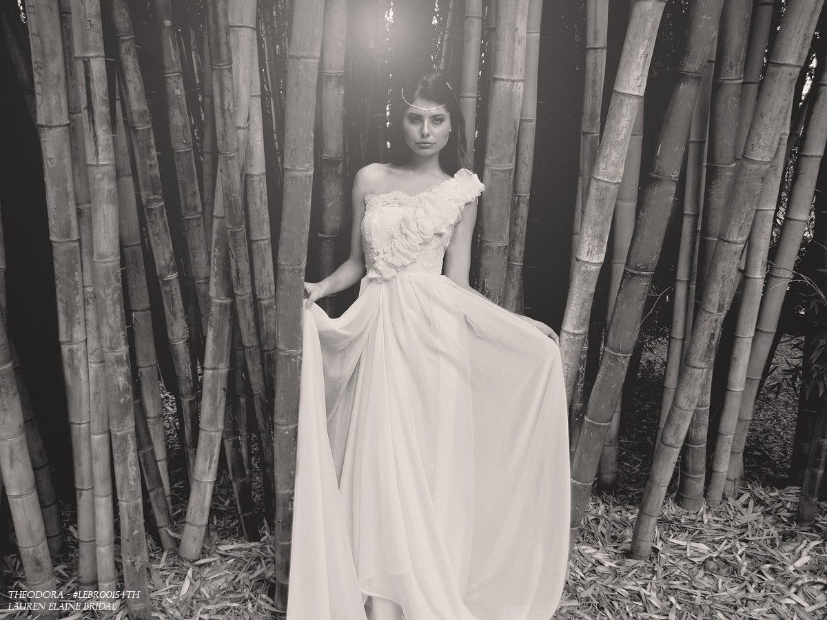 Exotic bridal. Theodora by Lauren Elaine Bridal. Beach wedding gowns for destination weddings.
