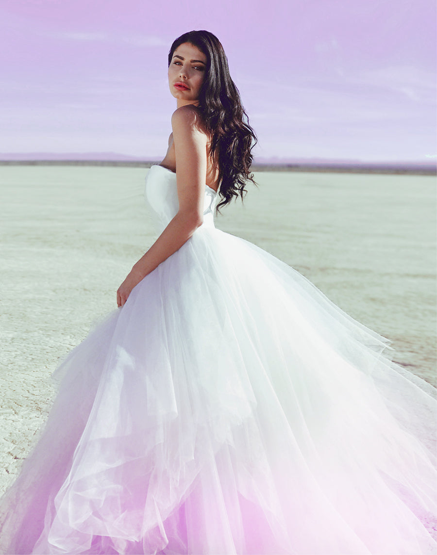 Ultra-violet colored ombré tulle wedding dress with satin sweetheart bodice by Lauren Elaine Bridal Los Angeles.