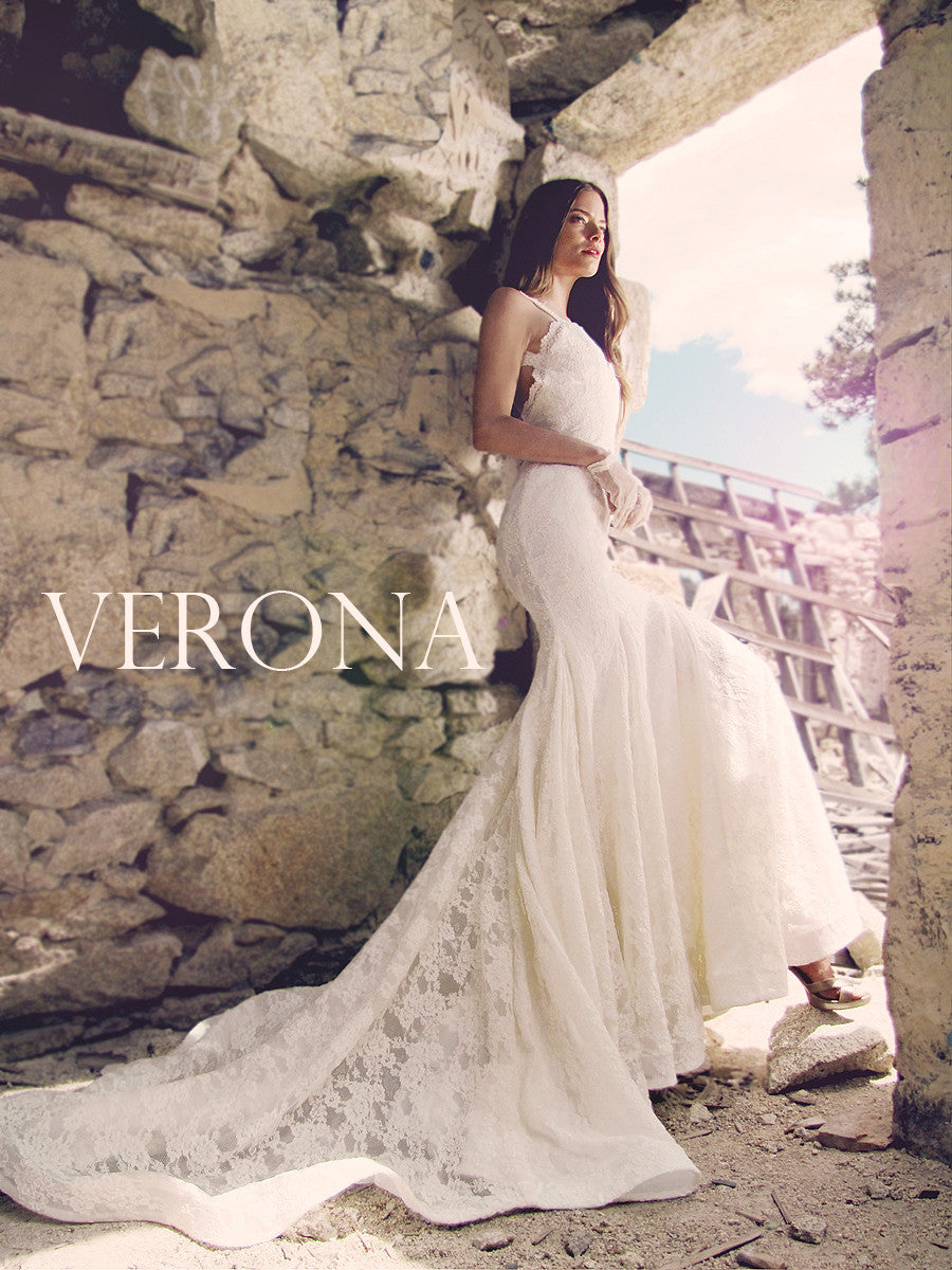 Backless Verona wedding dress by Lauren Elaine Bridal pictured in Ivory