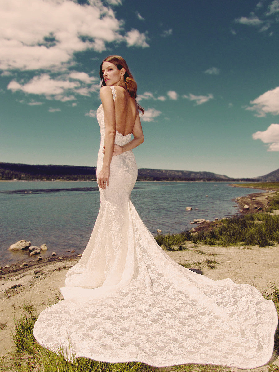 Backless lace mermaid wedding gown by Lauren Elaine Bridal