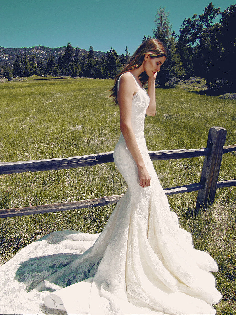 Bohemian lace mermaid trumpet wedding gown by Lauren Elaine Bridal.