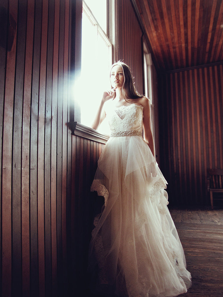 crystal pearl tulle lace a line ball gown wedding dress bridal gown sparkle blush halcyon lauren