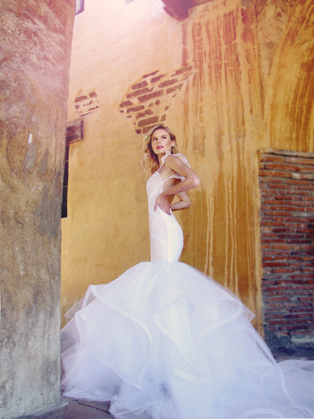 Vivianna by Lauren Elaine Bridal. Mermaid wedding gown with cathedral train.