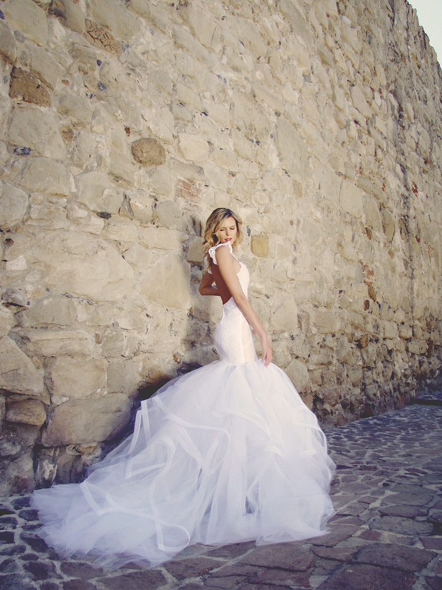Backless mermaid wedding gown. Vivianna by Lauren Elaine Bridal.