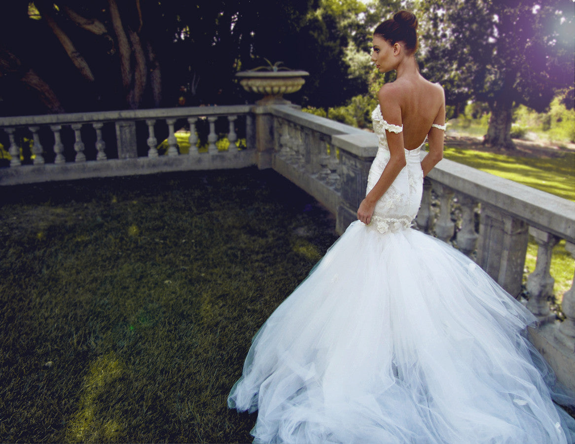 Backless tulle and lace illusion bridal gown by Lauren Elaine Bridal. Mermaid wedding gown.