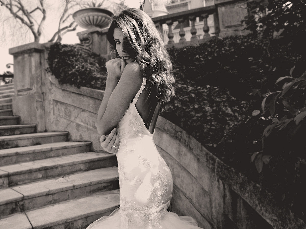 Vintage inspired bridal. Backless wedding gown with train. Lauren Elaine Bridal.