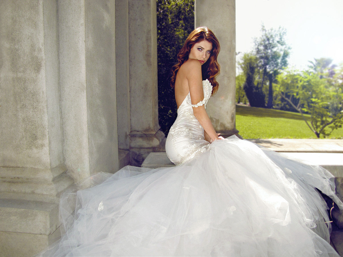 Mermaid tulle ball gown. Backless wedding gown. Lauren Elaine Bridal.