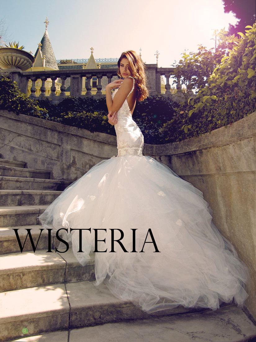 SAMPLE SALE: White Wisteria w/ 8ft Detachable Train