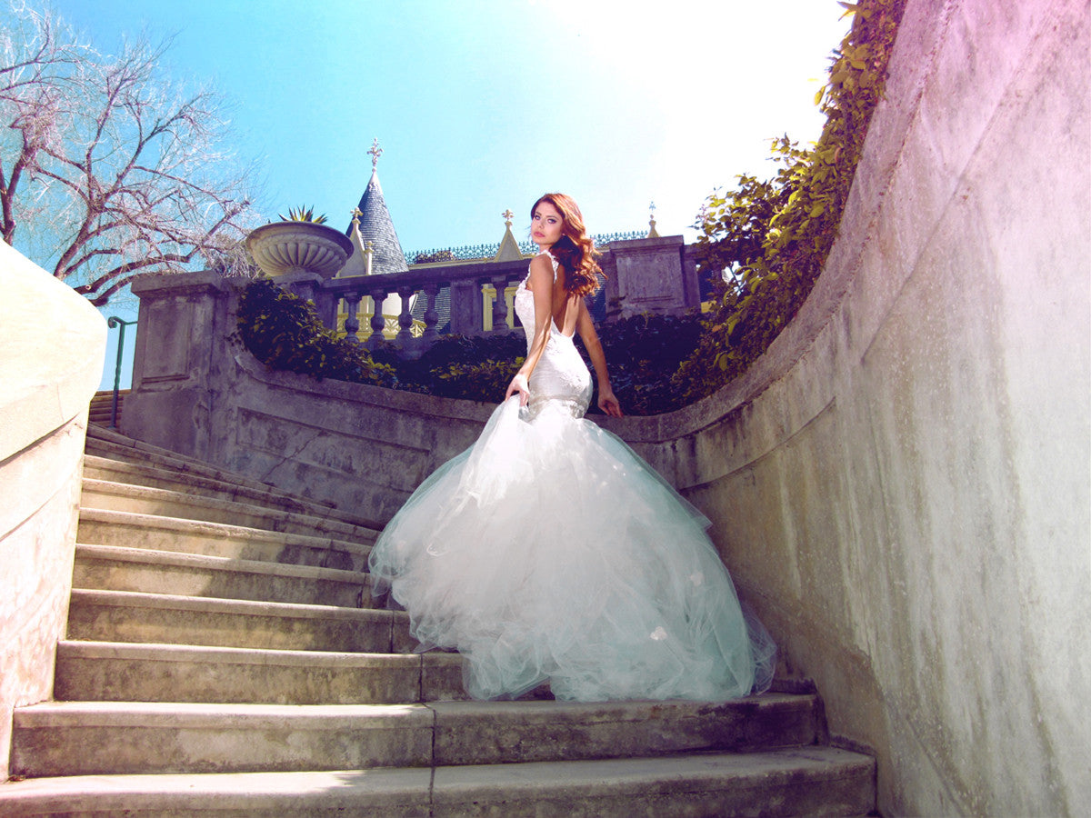 Fairytale wedding dresses by Lauren Elaine Bridal. Wisteria gown. Backless mermaid gown with train.