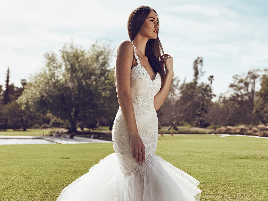 affordable couture bridal los angeles california lauren elaine capella gown