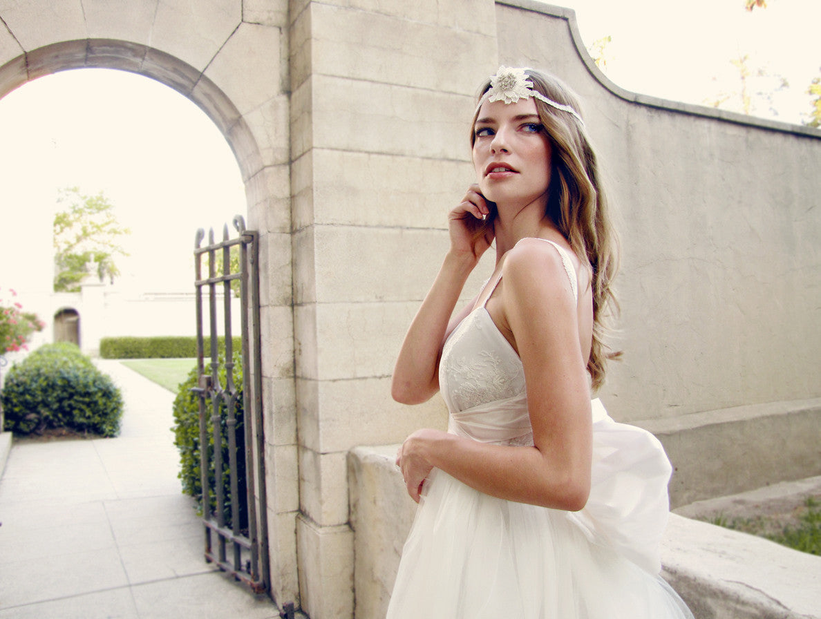 Effortlessly elegant bridal gown by Lauren Elaine Bridal. Made in the USA.